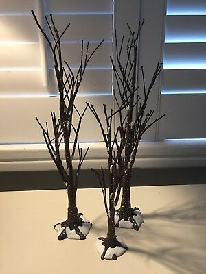Three Department 56 Snow Village Winter Trees Snow Covered No Leaves