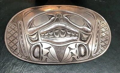 "Antique Inuit Sterling Silver bear Buckle stamped "" Yo """