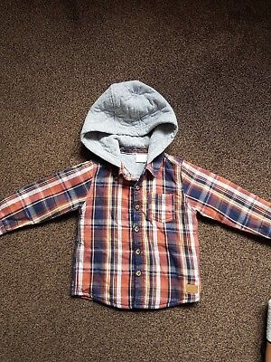 Baby Boys 12-18 Months Checked Hooded Shirt jacket