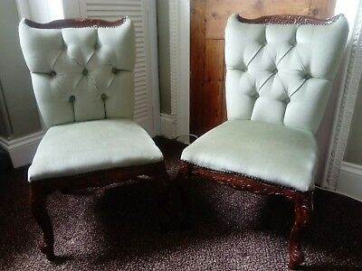 Pair of small antique nursing/hall/bedroom chairs in green upholstery