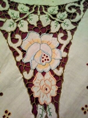 Pastel Embroided and Cutwork Madeira Linen Tablecloth 102 by 66 Inches
