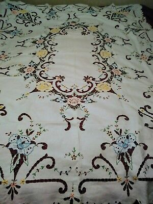 Exquisite Pastel Embroided and Cutwork Madeira Linen Tablecloth 84 by 66 Inches