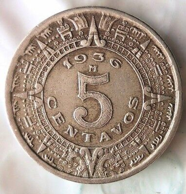 1936 MEXICO 5 CENTAVOS - Mayan Calendar - Great Coin - FREE SHIP - Mex Bin #3