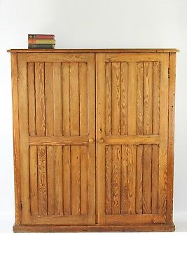 Antique Victorian Pitch Pine School Cupboard - Vintage Housekeepers Bookcase
