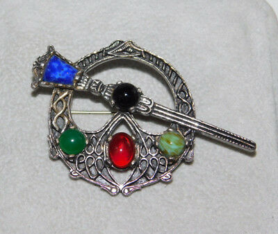 Vintage Miracle Celtic Penannular design Glass Agate Silver Brooch Pin 2h 40