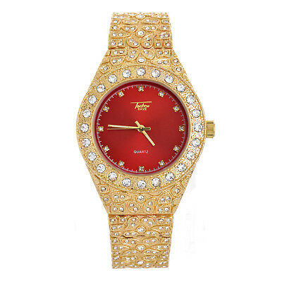 Men's Hip Hop Bling Gold Plated Iced Nugget Stone Metal Band Watches WM 8717 GRD