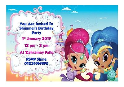 Personalised nick jr shimmer and shine birthday party invitations personalised nick jr shimmer and shine birthday party invitations pack of 12 filmwisefo
