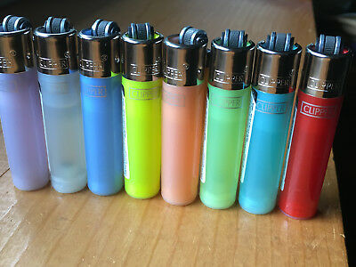 8 Mini Clipper Butane Lighters, or ur choice of 4 Transparent colors, refillable