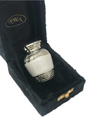 Pearl White Keepsake Urn, Solid Brass Funeral Cremation urn, Ash Urn with box