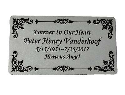 """Personalized Engraved Plate, 4.5"""" x 2.5"""" Silver Name Plate with Black, Plaque"""