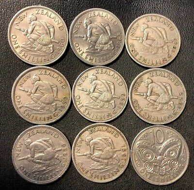 Old New Zealand Coin Lot - SHILLINGS - 1947-1967 - 9 Low Mintage Coins -Lot #913