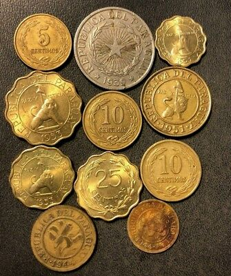 Old PARAGUAY Coin Lot - 1939-1953 - 11 Collectible Hard to Find Coins - Lot #913