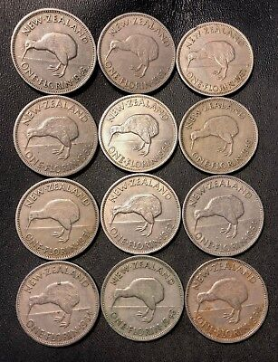 Old New Zealand Coin Lot - FLORINS - 1948-1964 - 12 Low Mintage Coins -Lot #913