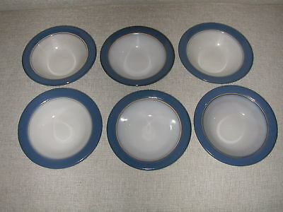 "6 Vintage Heath Ceramics Sausalito Series French Blue 6"" berry bowls"