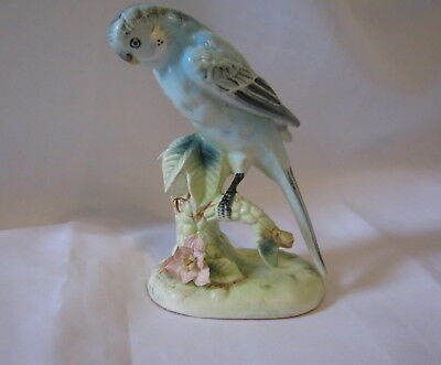 "Vintage Ceramic Blue Parakeet Bird On Plant 5.25"" Figurine Japan (1D)"