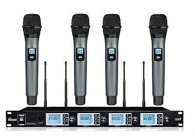 UHF Wireless Microphone System 4 Channel Audio HandHeld System w/LCD Display