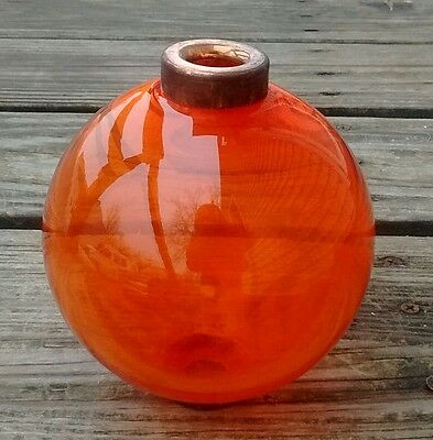 Orange Sunkist Round Orange Lightning Rod Ball Home Den Garage Farm Yard Decor