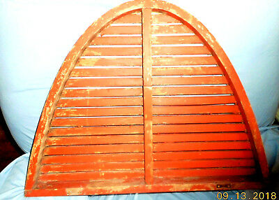 AAFA ANTIQUE WOOD ARCHITECTURAL VENT LOUVER GREAT RED PAINT half moon demilune