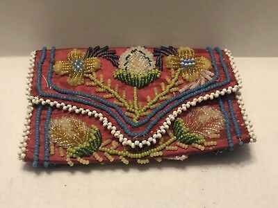 Antique Iroquois Beaded Purse Or Wallet Amazing Condition