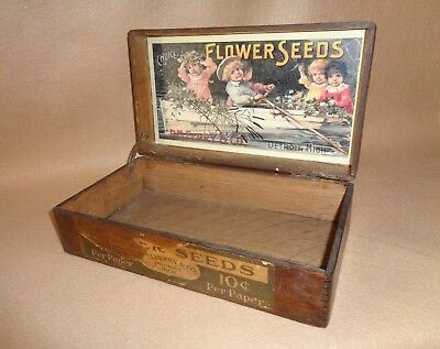 old general store antique advertising Ferry Seed Box & great children graphics