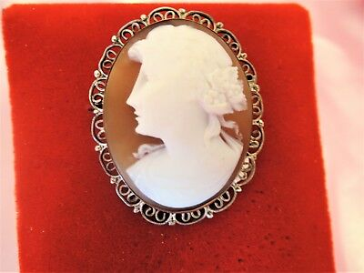 Antique Hand Carved Shell 800 Silver Filigree Cameo*brooch*gorgeous!