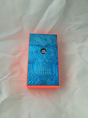 Blue Sugar Skull Metallic Orange Plastic Cigarette Case 100's Push Flip Up Top
