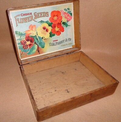 old general store antique advertising Ferry Seed Box & great colorful  graphics