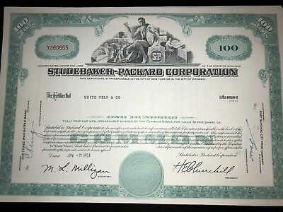 Studebaker Packard original issued stock certificate g8 auto collectible