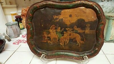 Toleware Tray Original Paint, Borzoi, Russian Wolfhounds, late 19th, early 20th