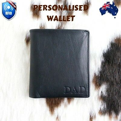Personalised Gift Leather RFID Wallet Mens Bi-fold Custom Monogram Slim AU Stock