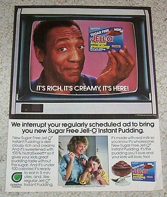 1985 ad page - Jell-O chocolate pudding BILL COSBY girl vintage PRINT ADVERT