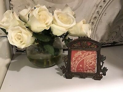 Antique Vintage Art Nouveau Floral Metal Picture Photo Frame