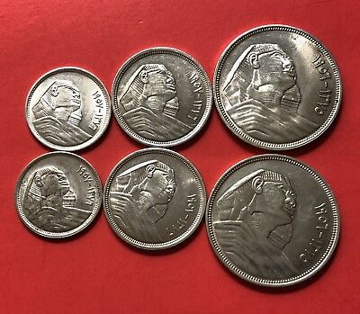 EGYPT-2 SETS OF TOTAL 6 SILVER COINS 1956-1957 (5,10&20 Pt. ).HIGH GRADE .