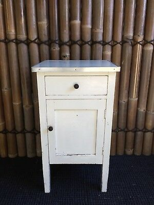 Vintage Wooden Shabby Chic Bedside Table with Drawer & Cupboard
