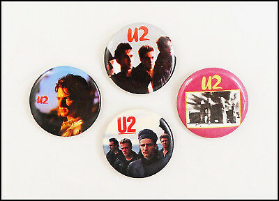 U2 Lot Of 4 80's Buttons Pins Badges / Bono