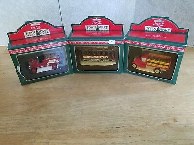 Coca Cola - Town Square Collection Vehicle Lot of 3 - Fire Truck, Trolley, Truck