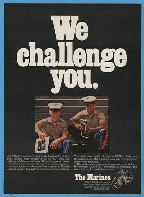 1974 US Marine Corps Officer Selection Recruitment USMC We Challenge You Ad