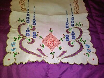 Beautiful Color Embroidered and Cutwork Madeira Linen Runner 27 by 13 Inches