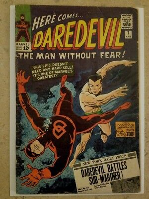 Marvel Comics Daredevil 7 1965 1St Red Costume ! Wally Wood Art - Sub-Mariner