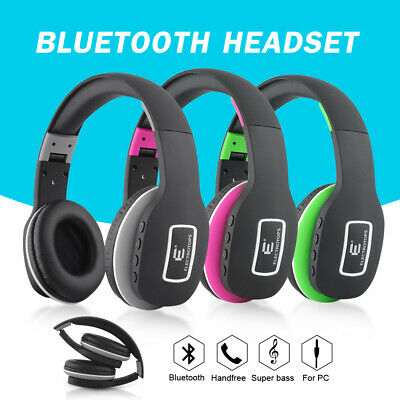 Wireless Bluetooth headphones Mic Stereo sound Foldable Over the Ear Headset