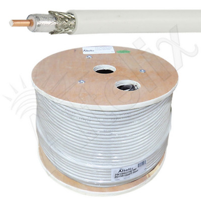 Altelix RG11/U WHITE Double Shielded 75 Ohm Low Loss Coaxial Cable 1000 FT Reel