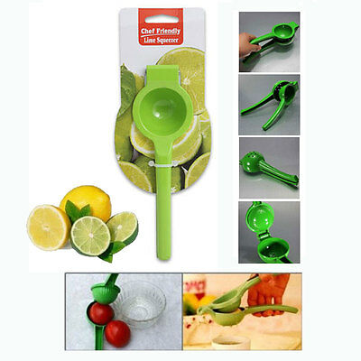 Metal Lemon Lime Squeezer Hand Juicer * Green * NEW