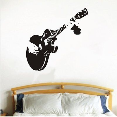 Guitar Wall Stickers Home Decor Diy Musical Instrument Vinyl Home Decals M2