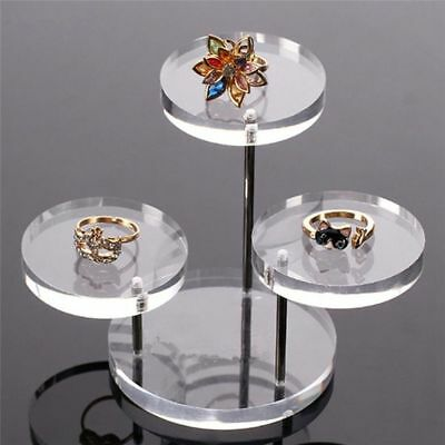 Clear Button Jewelry Necklace Earring 3 Layer Display Shelf Stand Organizer