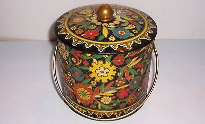 Antique DECORATED TIN TOLEWARE Canister Caddie ORIGINAL PAINT-Container England