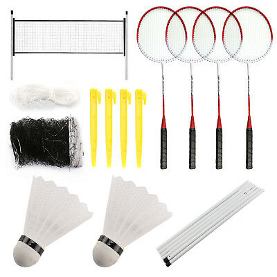 Professional Badminton Set 4 Player Racket Shuttlecock Poles Net Bag Game