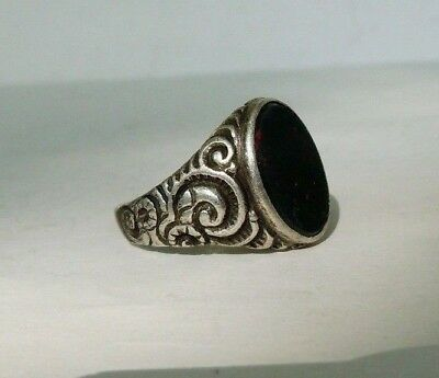 Imperial Russian 84 Silver Ring with Onyx stone Faberge design