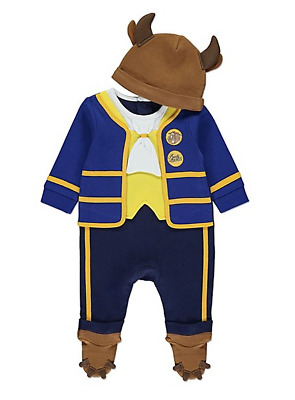 Disney George Baby Beauty & The BEAST All In One With Hat Fancy Dress Costume
