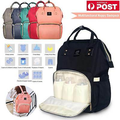 Fashion Large Multifunctional Baby Diaper Nappy Backpack Changing Bag Waterproof