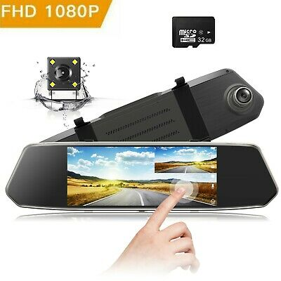 "TOGUARD Mirror DashCam 1080P Dual Lens 7"" IPS Touch Screen Front Rear Car Camera"